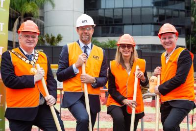 Parramatta Lord Mayor Andrew Wilson, GPT's Matthew Faddy and QBE's Renee Roberts and Chris Killourhy