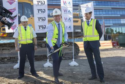 RFS Deputy Commissioner Rob Rogers, NSW Minister for Police & Emergency Services Troy Grant and GPT Head of Office & Logistics Matthew Faddy  at the 4 Murray Rose Avenue site.